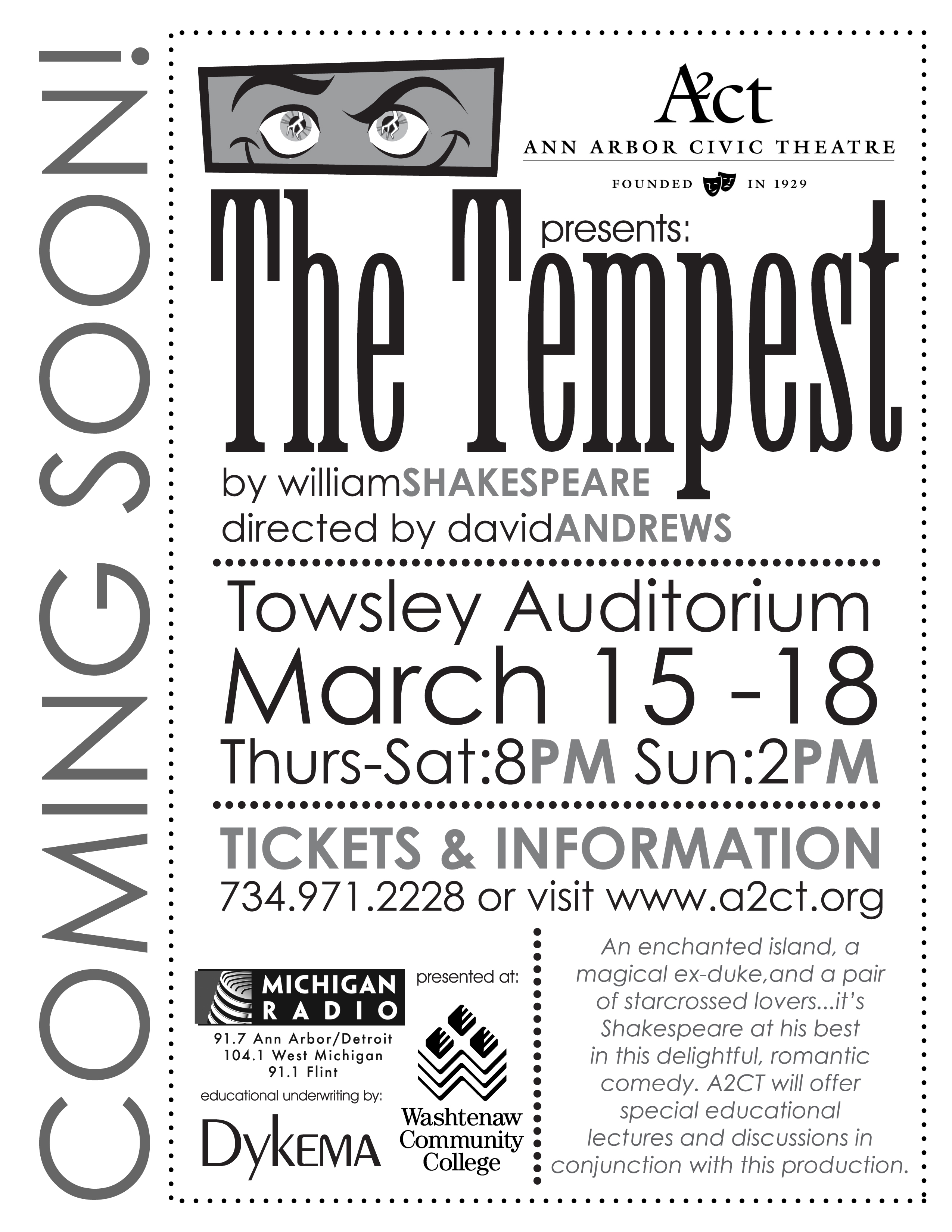 Ann Arbor Civic Theatre Poster: The Tempest image