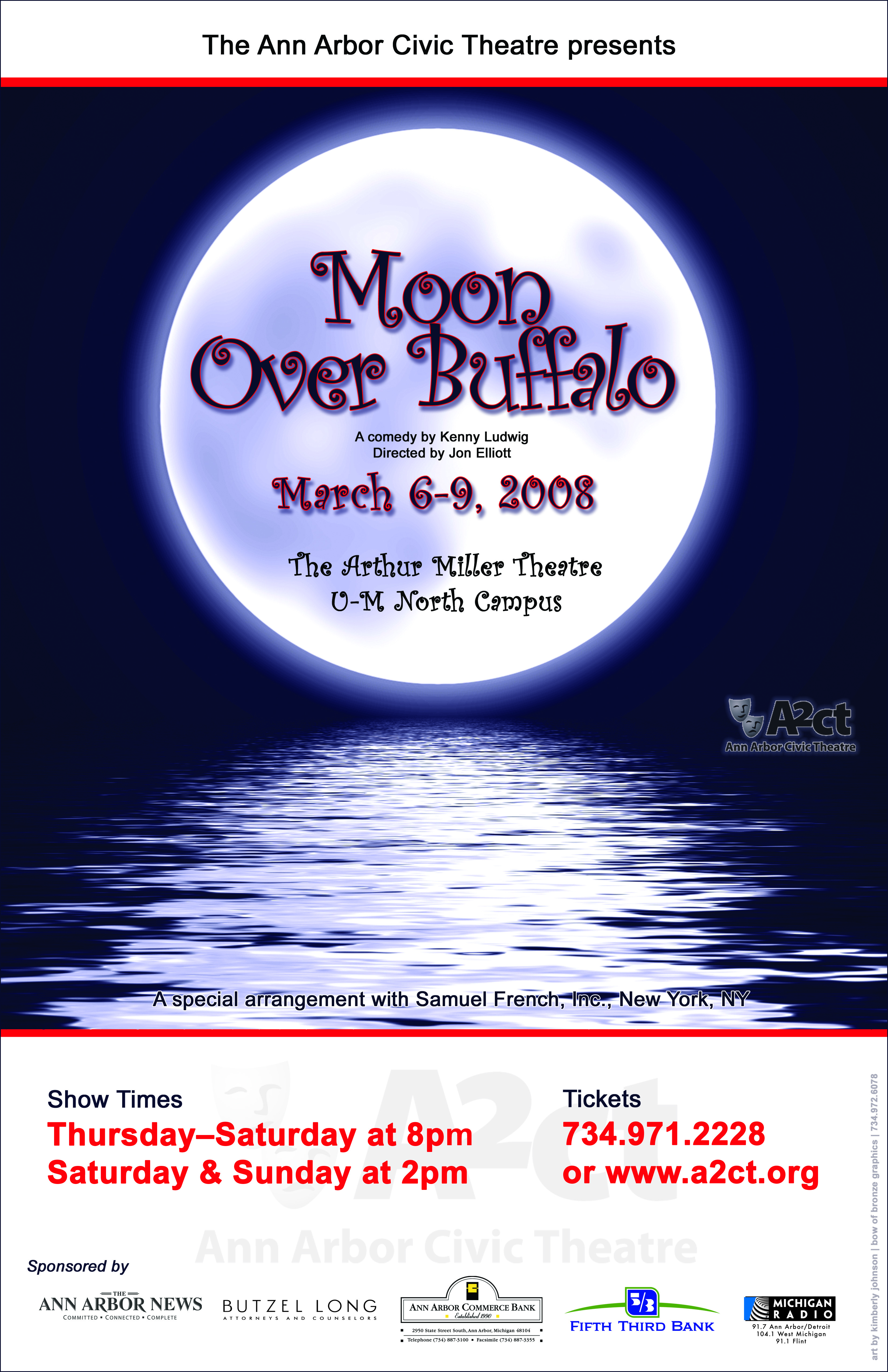 Ann Arbor Civic Theatre Poster: Moon Over Buffalo image