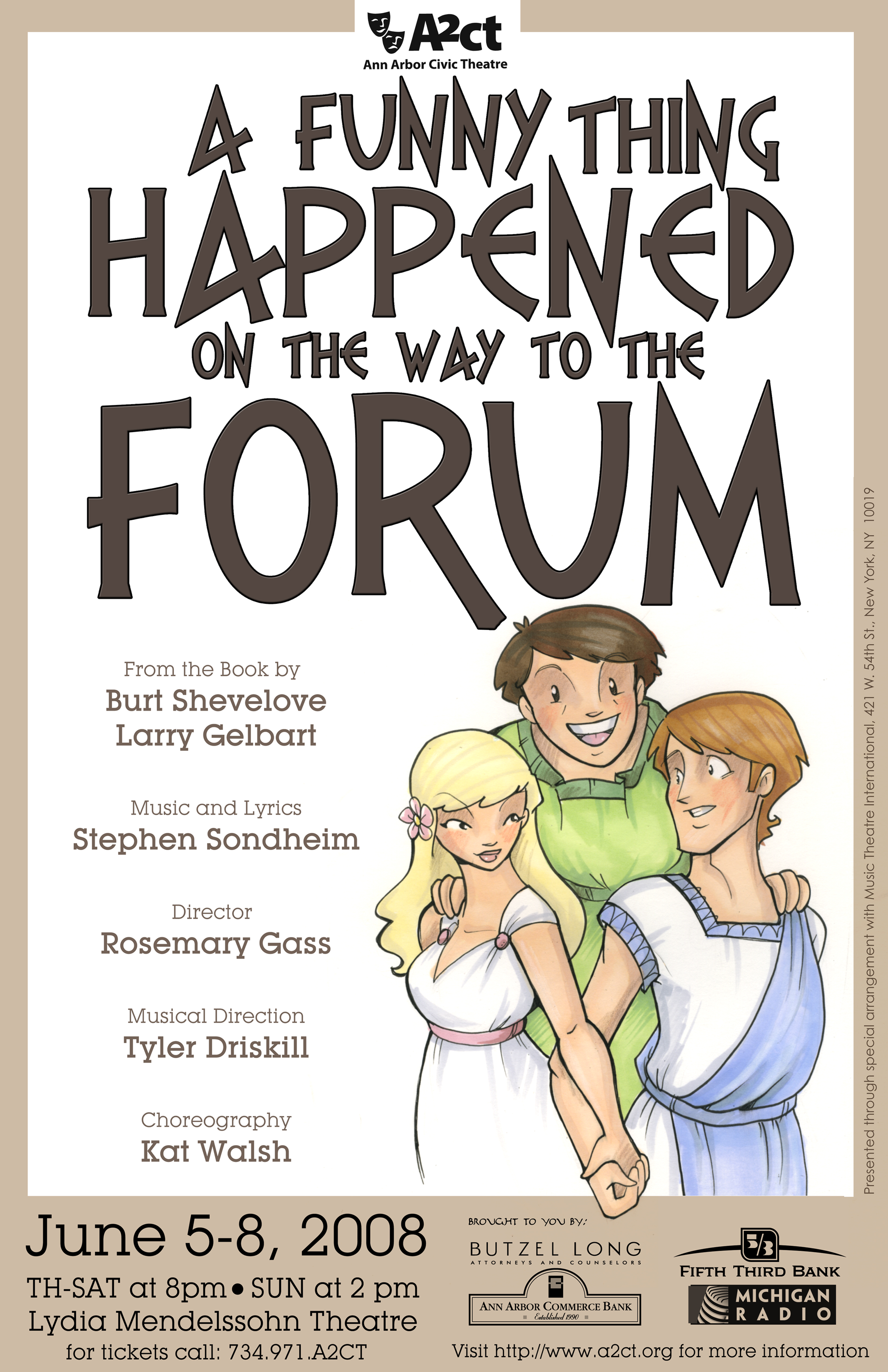 Ann Arbor Civic Theatre Poster: A Funny Thing Happened on the Way to the Forum image