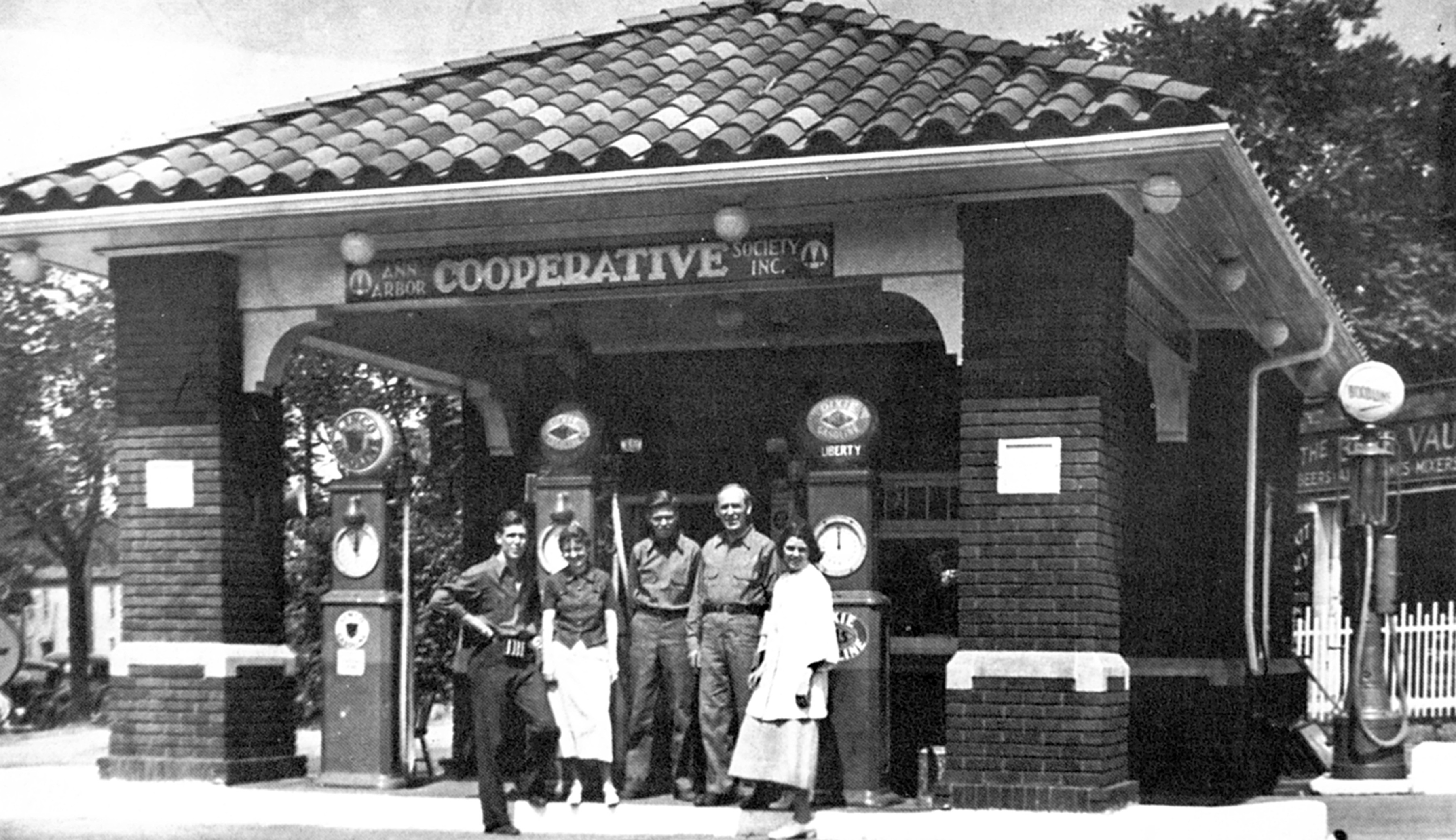 Employees outside the Ann Arbor Co-Operative Society Gas Station image