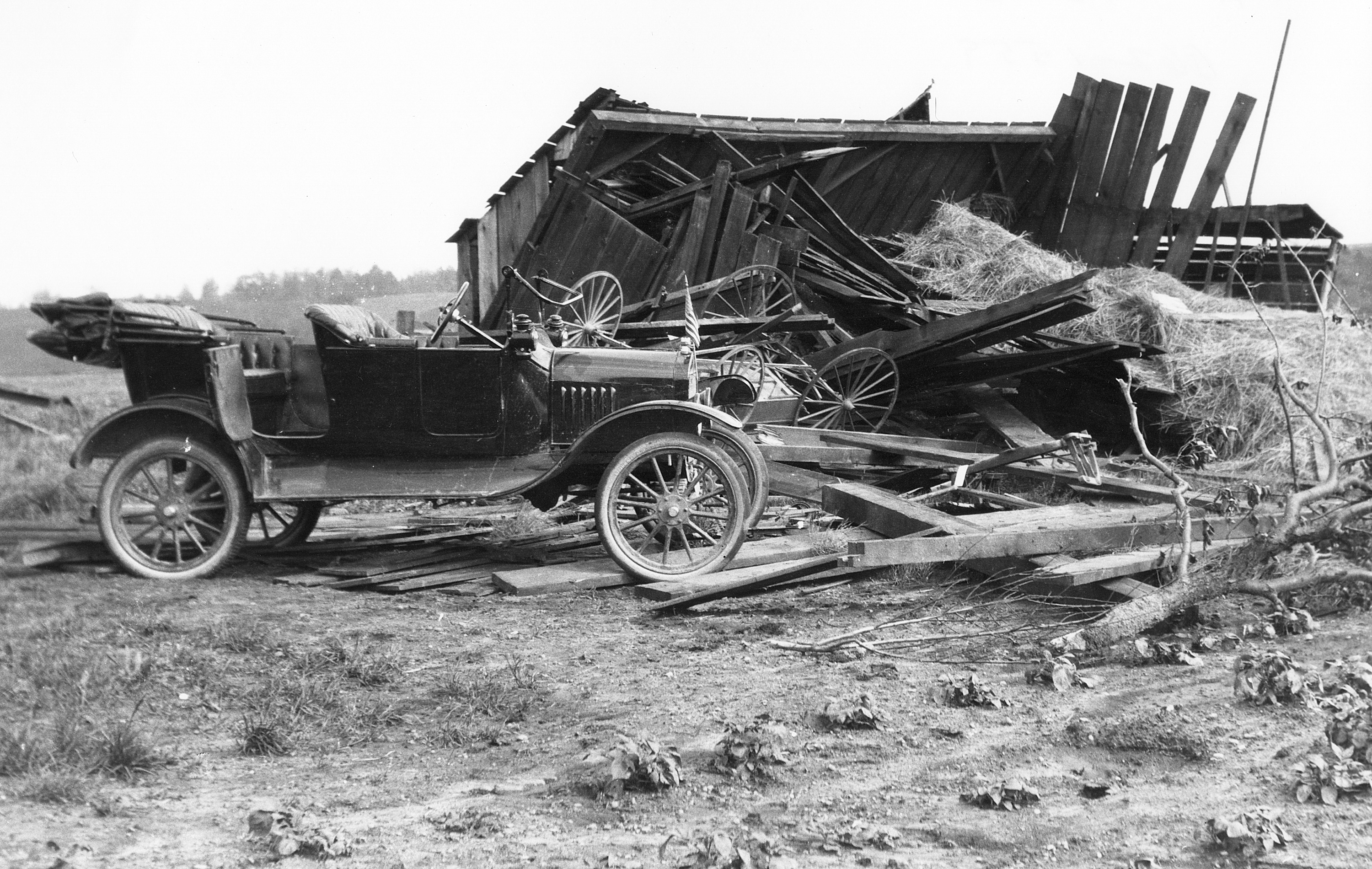 Eli Gallup's house after the Delhi tornado, 1917 image