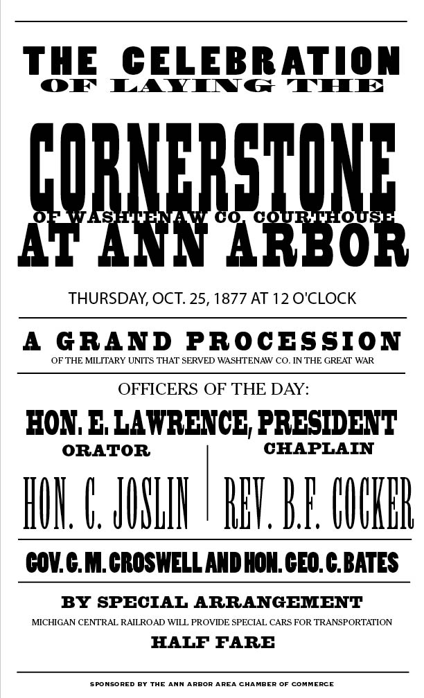 Announcement of the laying of the Courthouse cornerstone image
