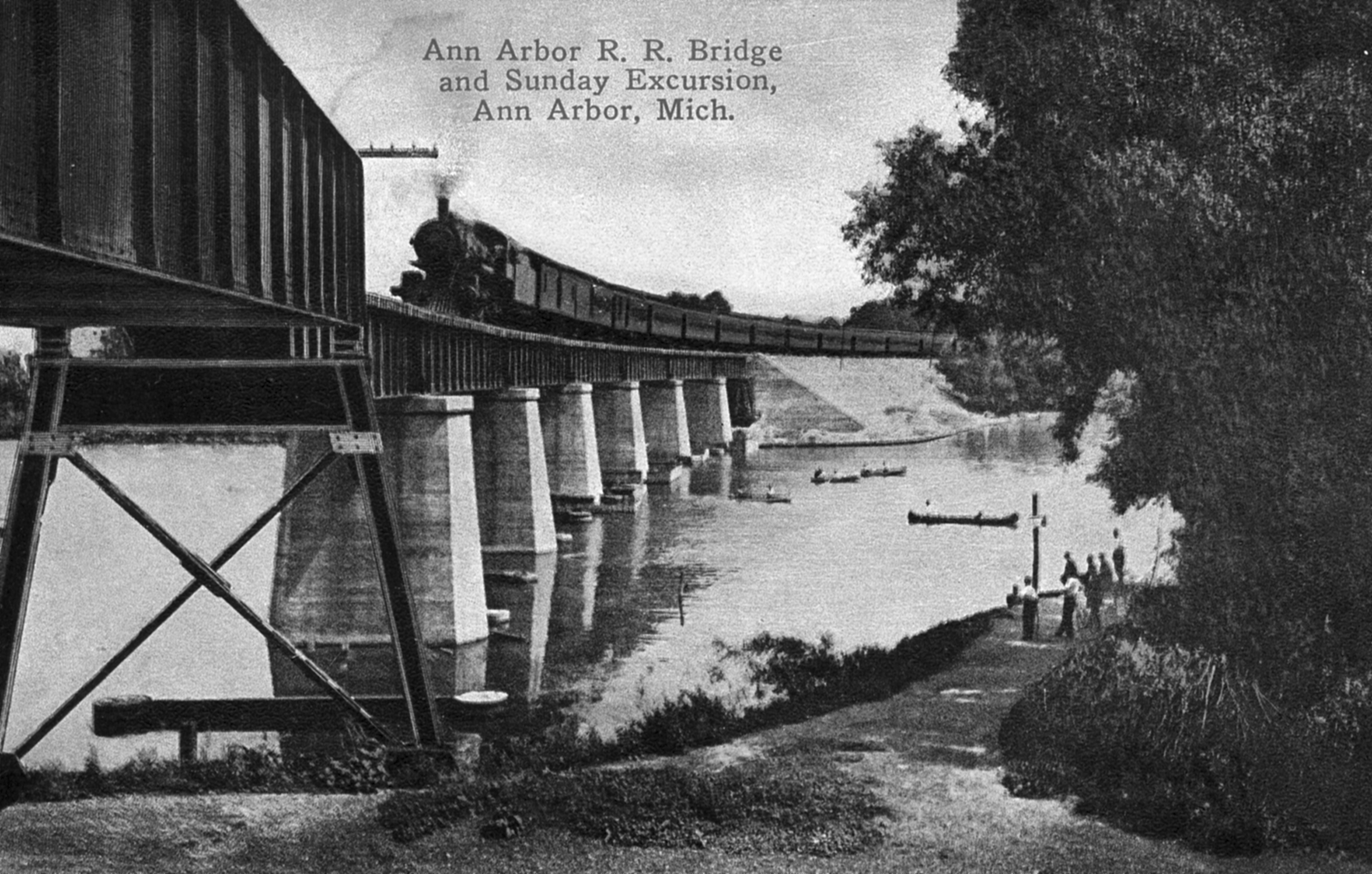 Ann Arbor Railroad crossing the Huron River image