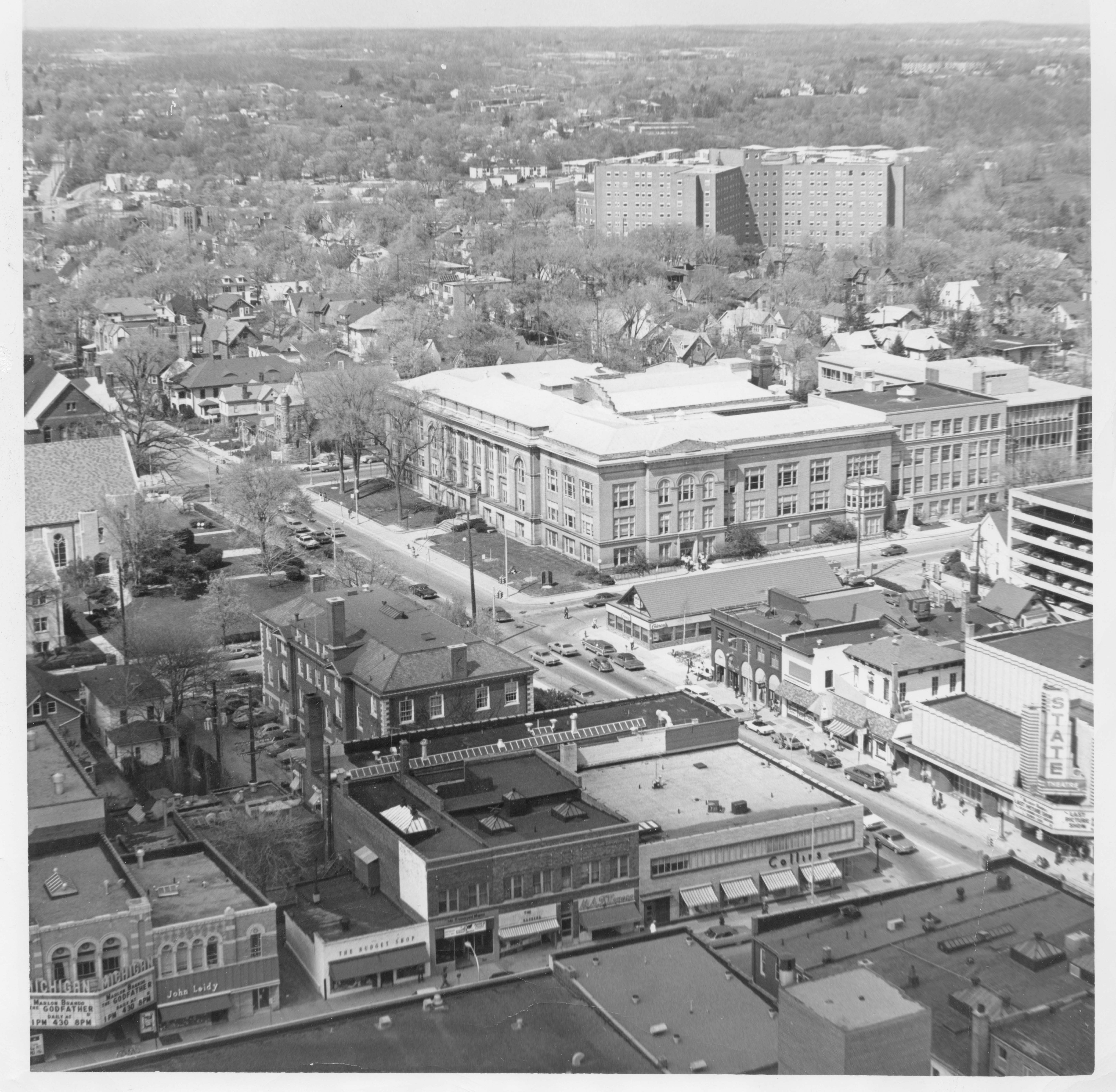 Aerial of Ann Arbor High School building (later UM Frieze Building) built in 1907 image