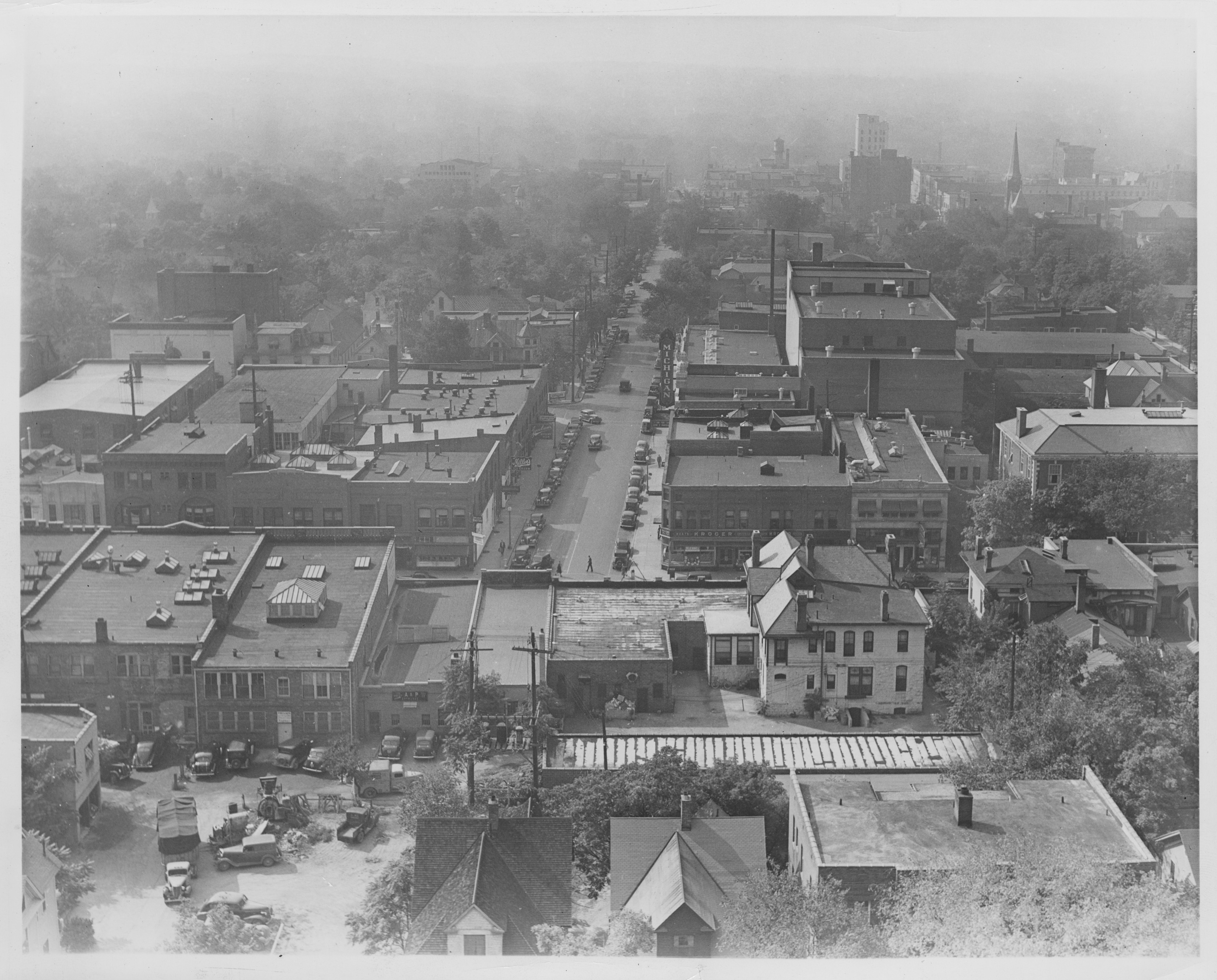 View from Burton Tower looking down Liberty St., 1938 image