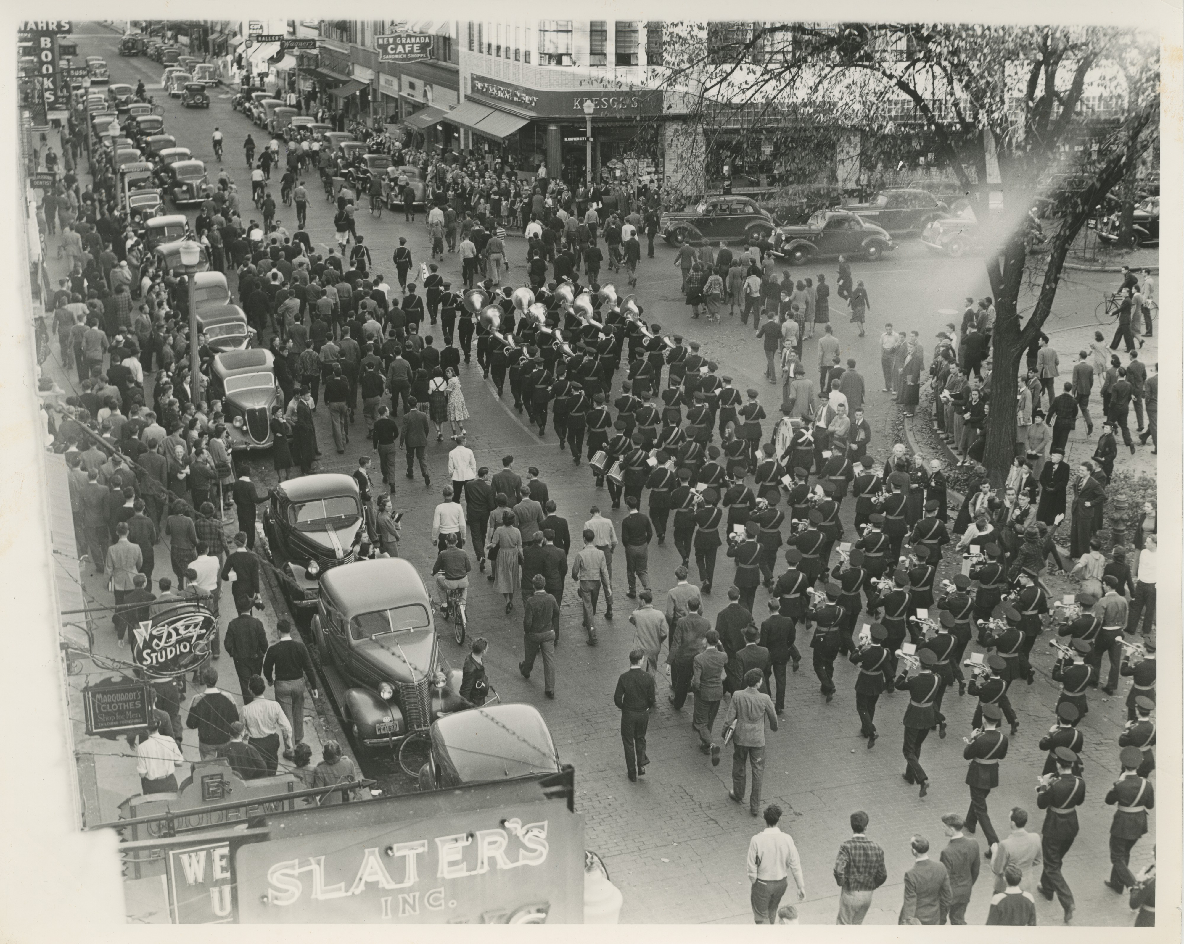 University of Michigan Marching Band, State St and N University, October 1938 image