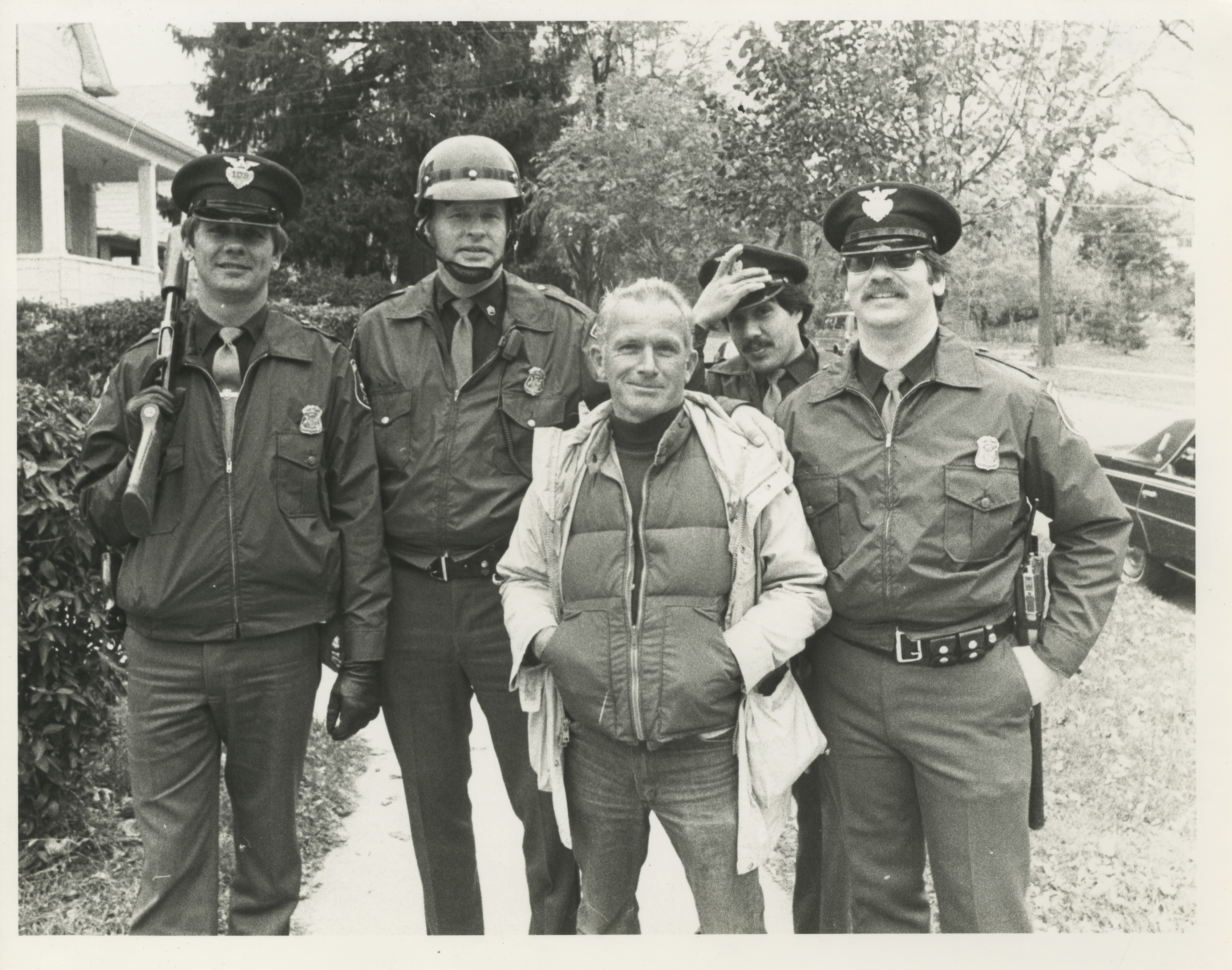 Jack Stubbs with Some Boys in Blue, October 1982 image