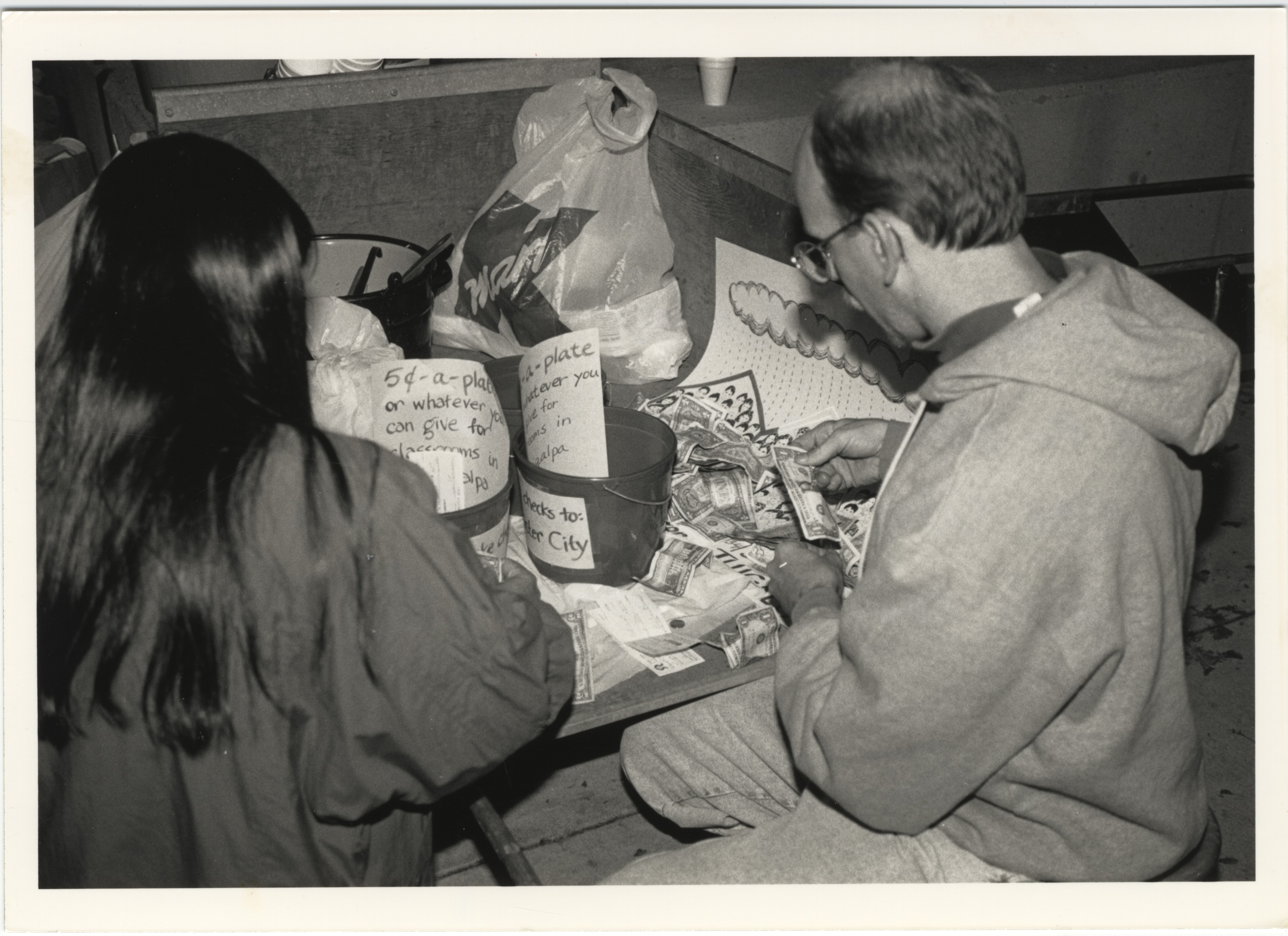 Interfaith Council for Peace and Justice: Counting Funds Raised, 1991 image