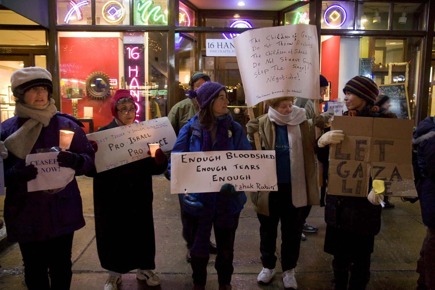 Interfaith Council for Peace and Justice: Gaza Vigil in front of 16 Hands, Main Street, 2009 image