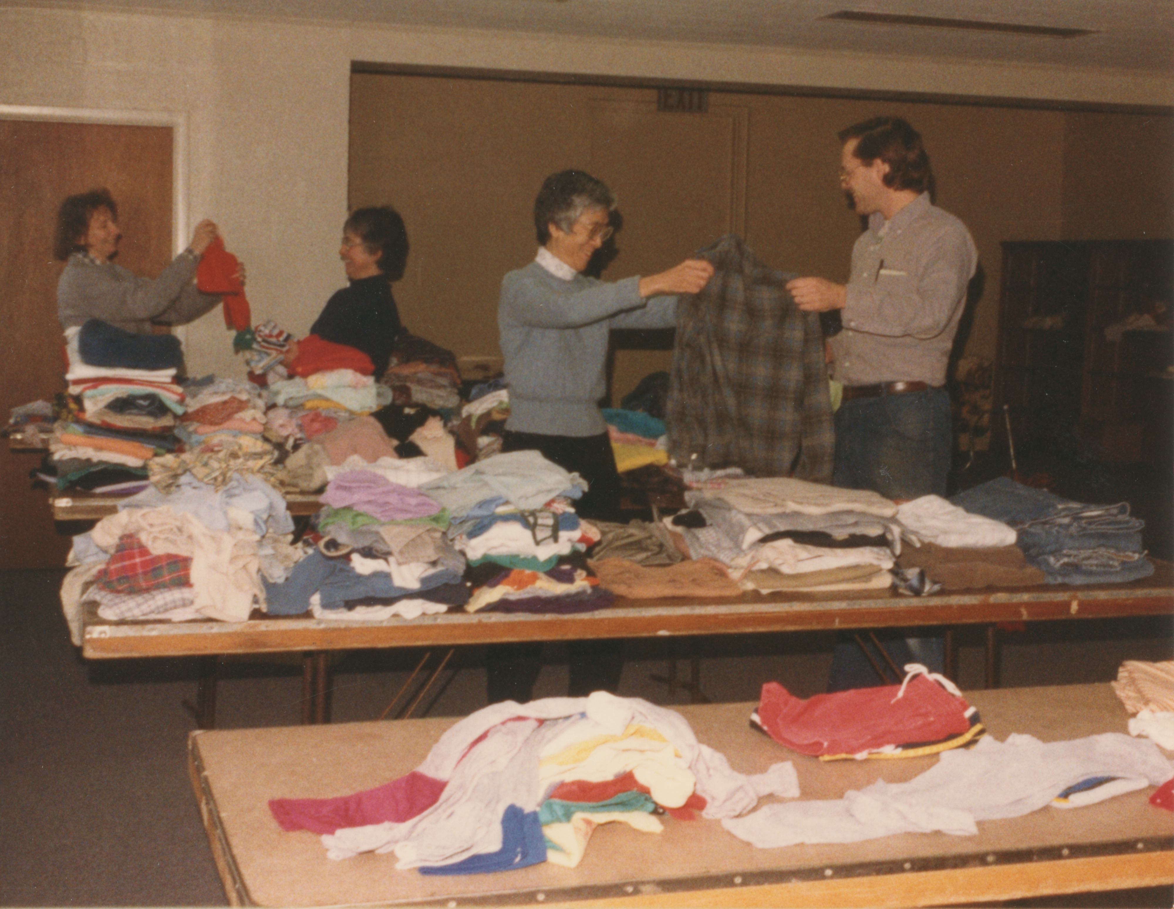 Interfaith Council for Peace and Justice: Clothing Drive beginning packing, Lord of Light Lutheran Church, 1987 image