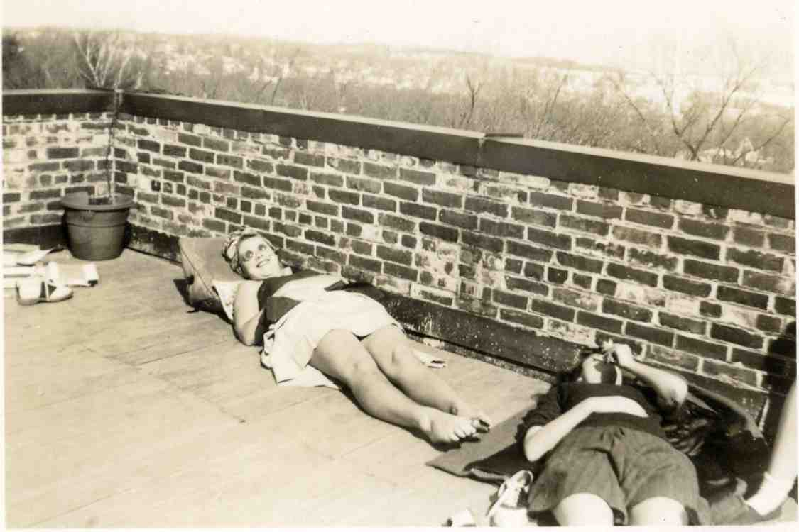 Students sunning on roof of Stockwell Hall, ca. 1942 image