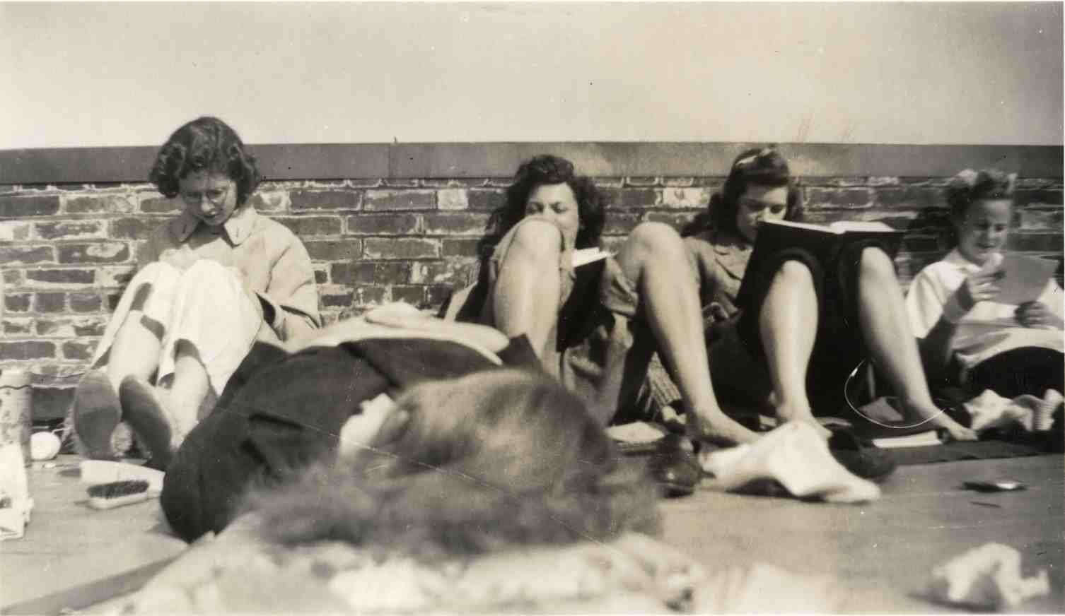 Students studying on roof of Stockwell Hall, ca. 1942 image