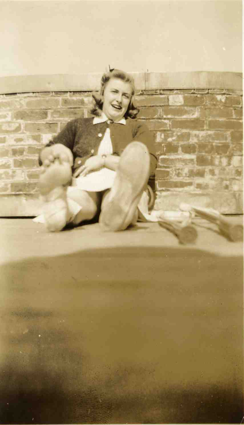 Student of roof of Stockwell Hall, ca. 1942 image