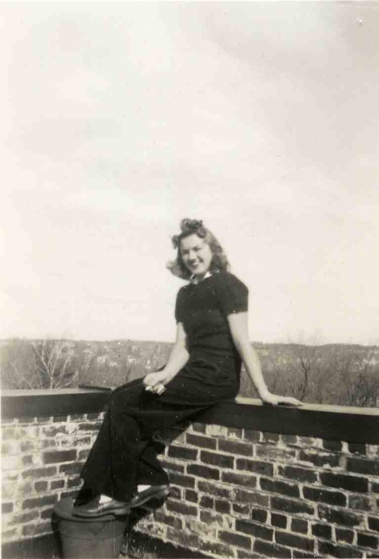 Student on roof of Stockwell Hall, ca. 1942 image