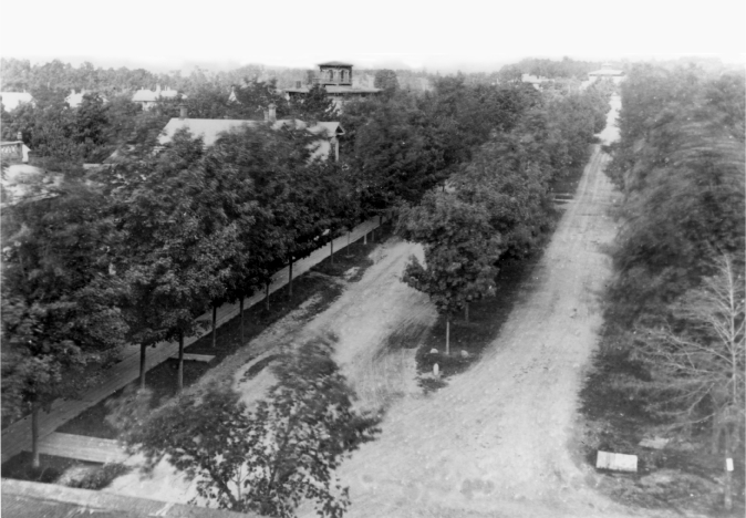 Aerial view of North University showing Alexander Winchell House image