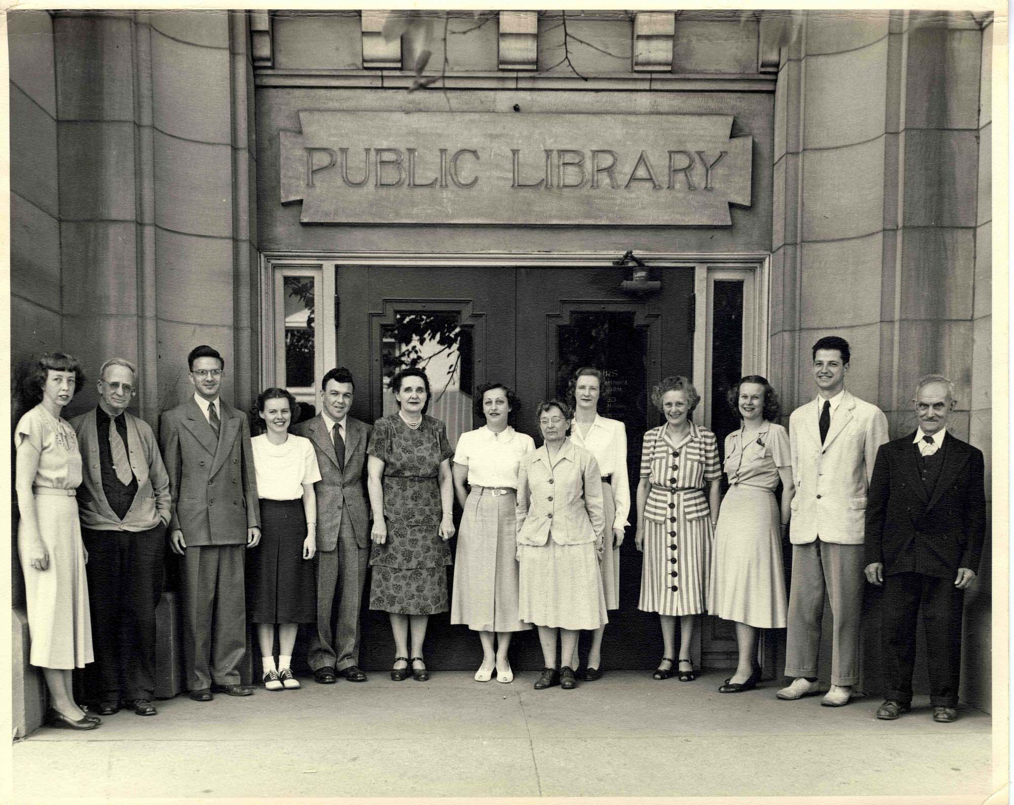 Ann Arbor Public Library Staff In Front of Carnegie Library Building, 1949 image