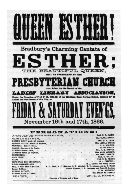 Handbill for performance of Esther: The Beautiful Queen image