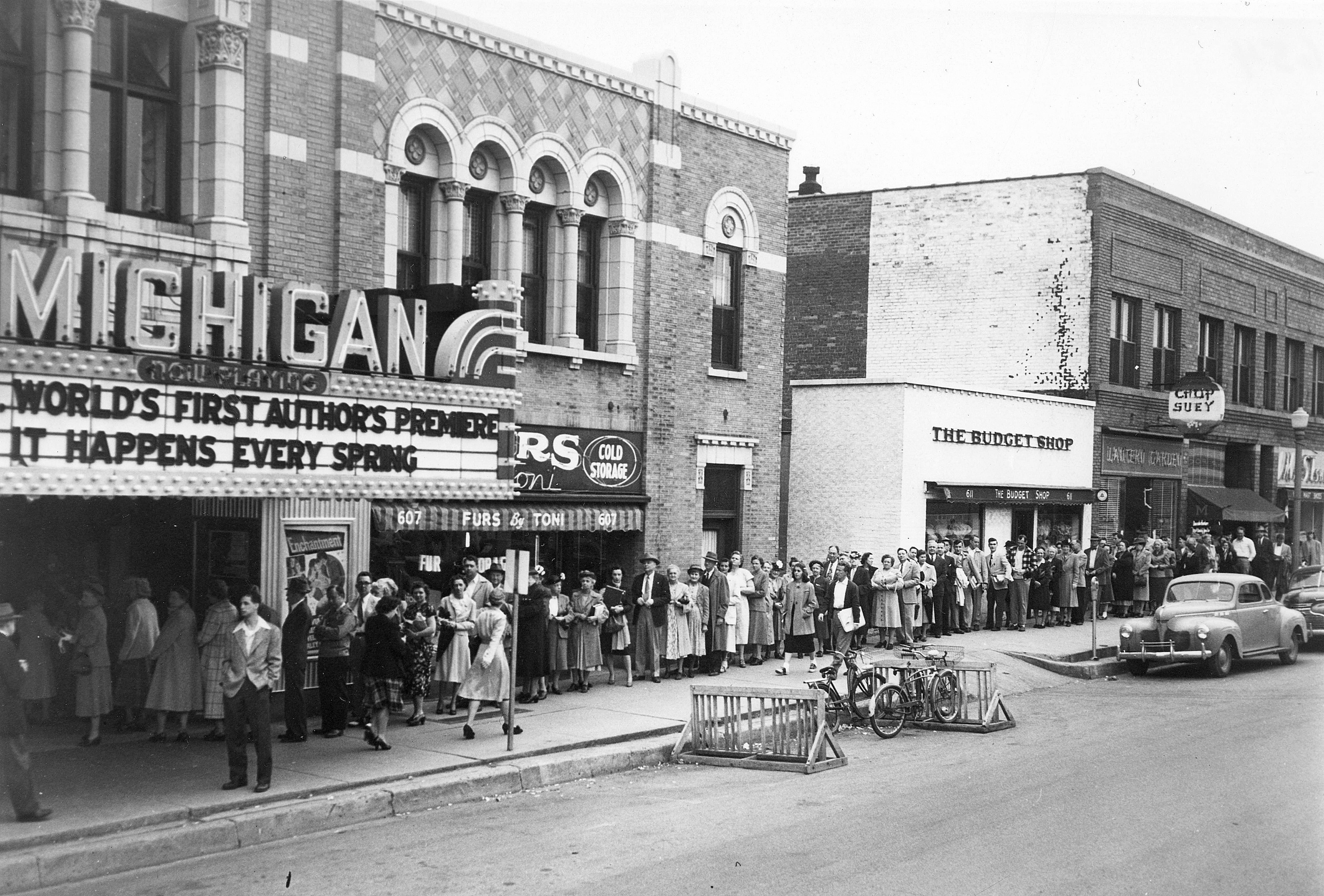 Moviegoers lined up at the Michigan Theater, 1949 image
