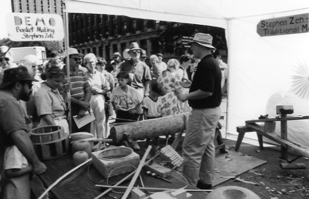 Basketmaking demonstration by artist Stephen Zeh, Ann Arbor Street Art Fair, ca. 1960s image