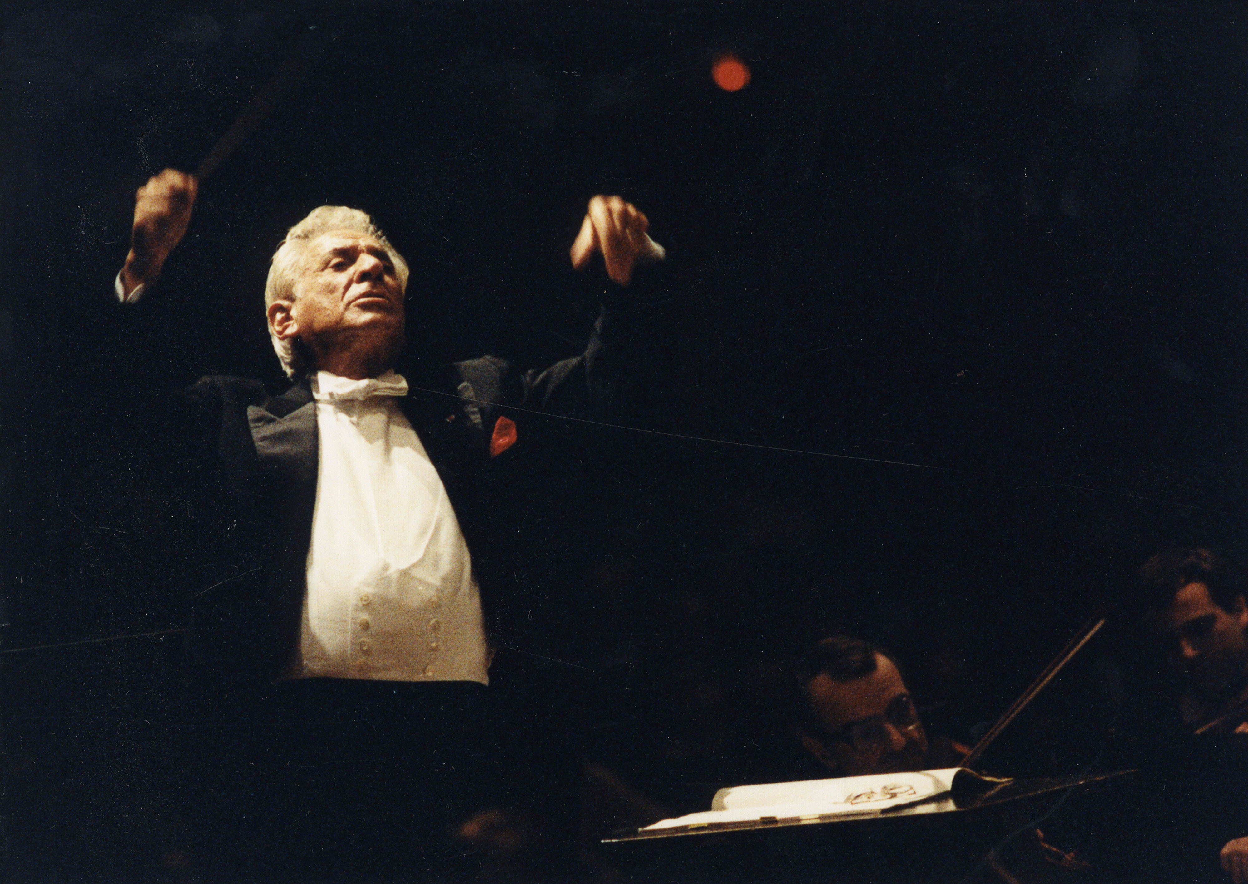 Image from Bernstein Benefit, Oct. 29, 1988 - Leonard Bernstein, conducting
