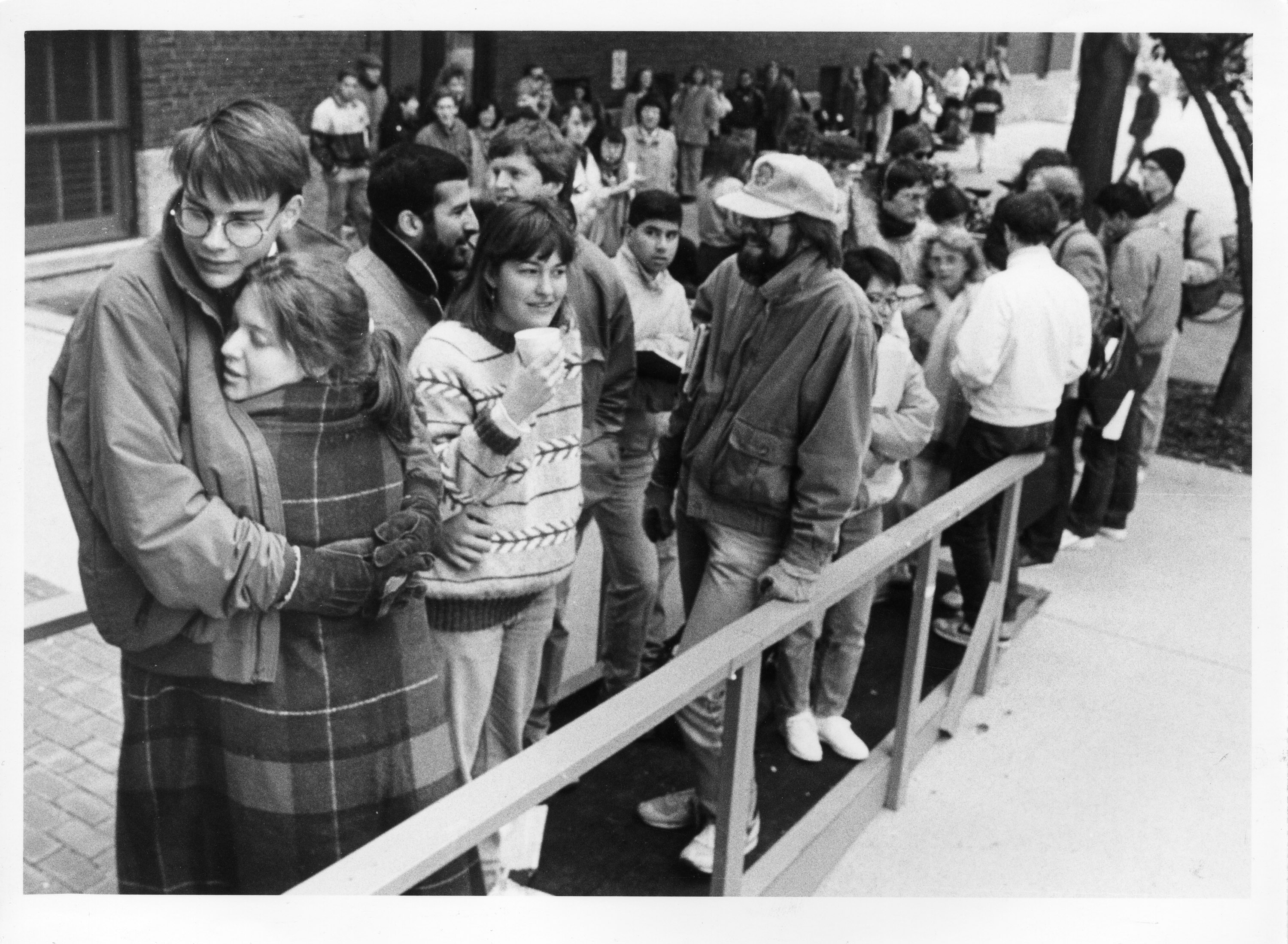 Students waiting to purchase tickets to Bernstein Benefit Concert, October 10, 1988 image