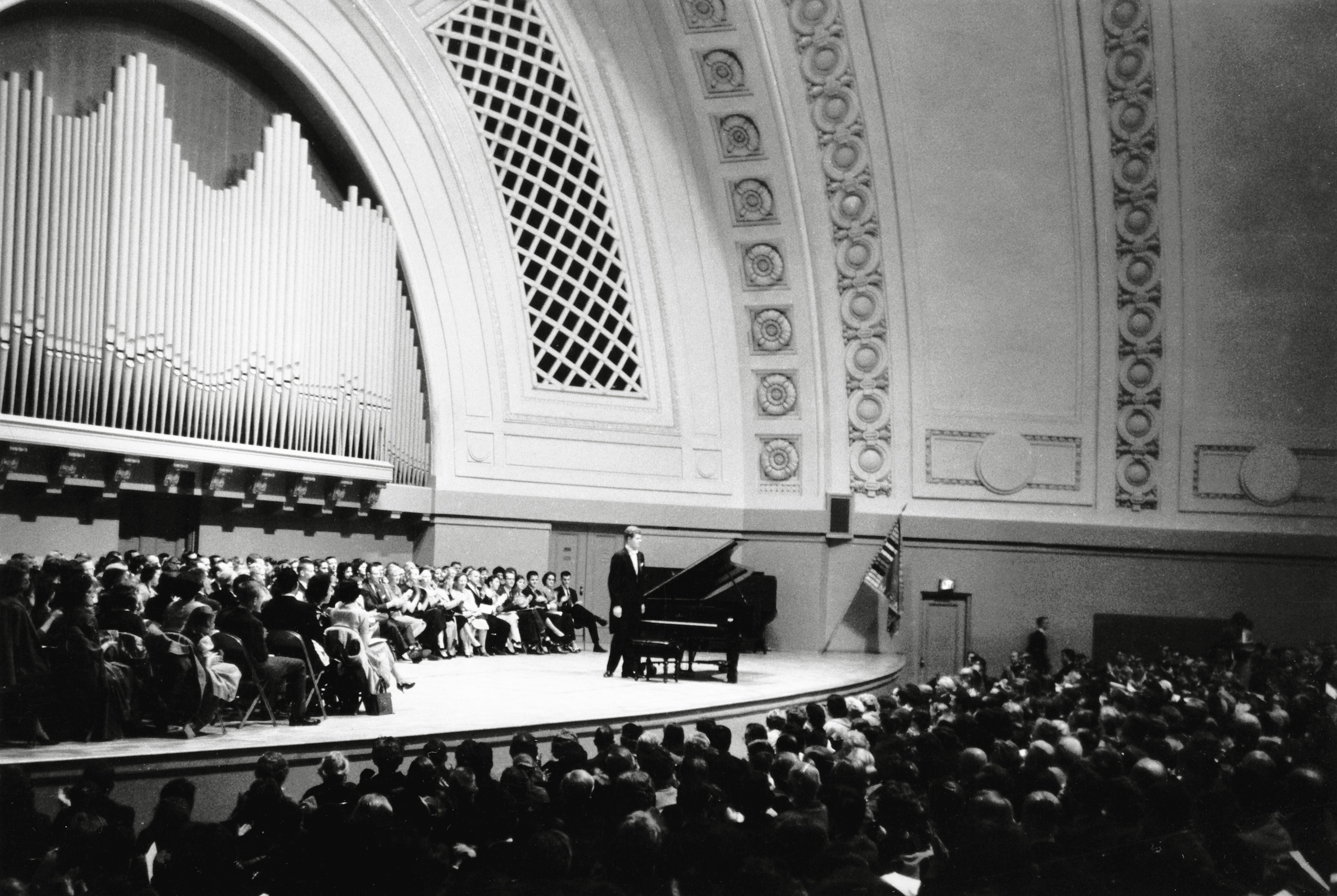 "Pianist Van Cliburn With a Capacity Audience Including ""Stage Seating"" March 15, 1968 image"