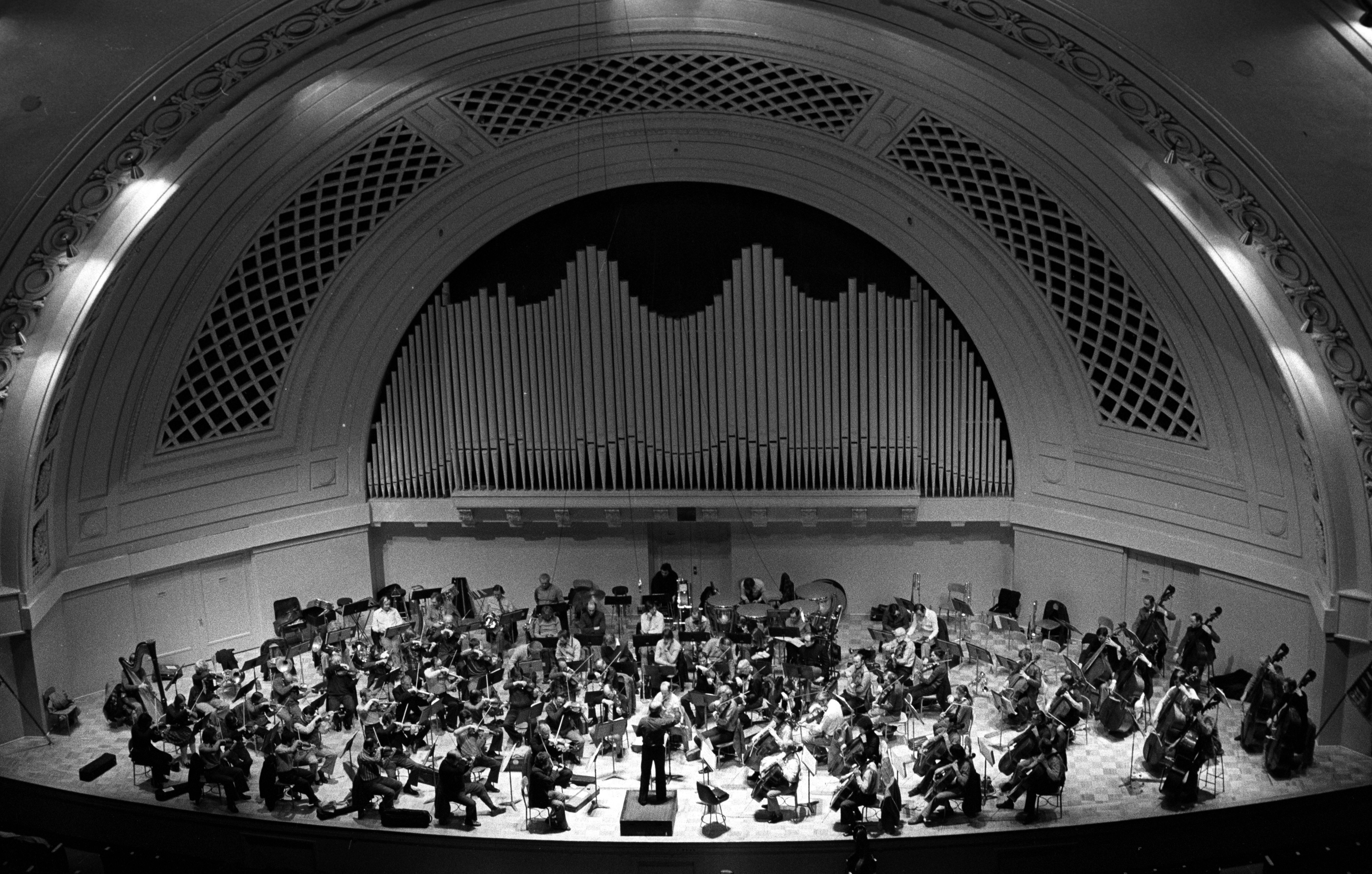 The London Philharmonic Orchestra in Rehearsal at Hill Auditorium, November 1976 image