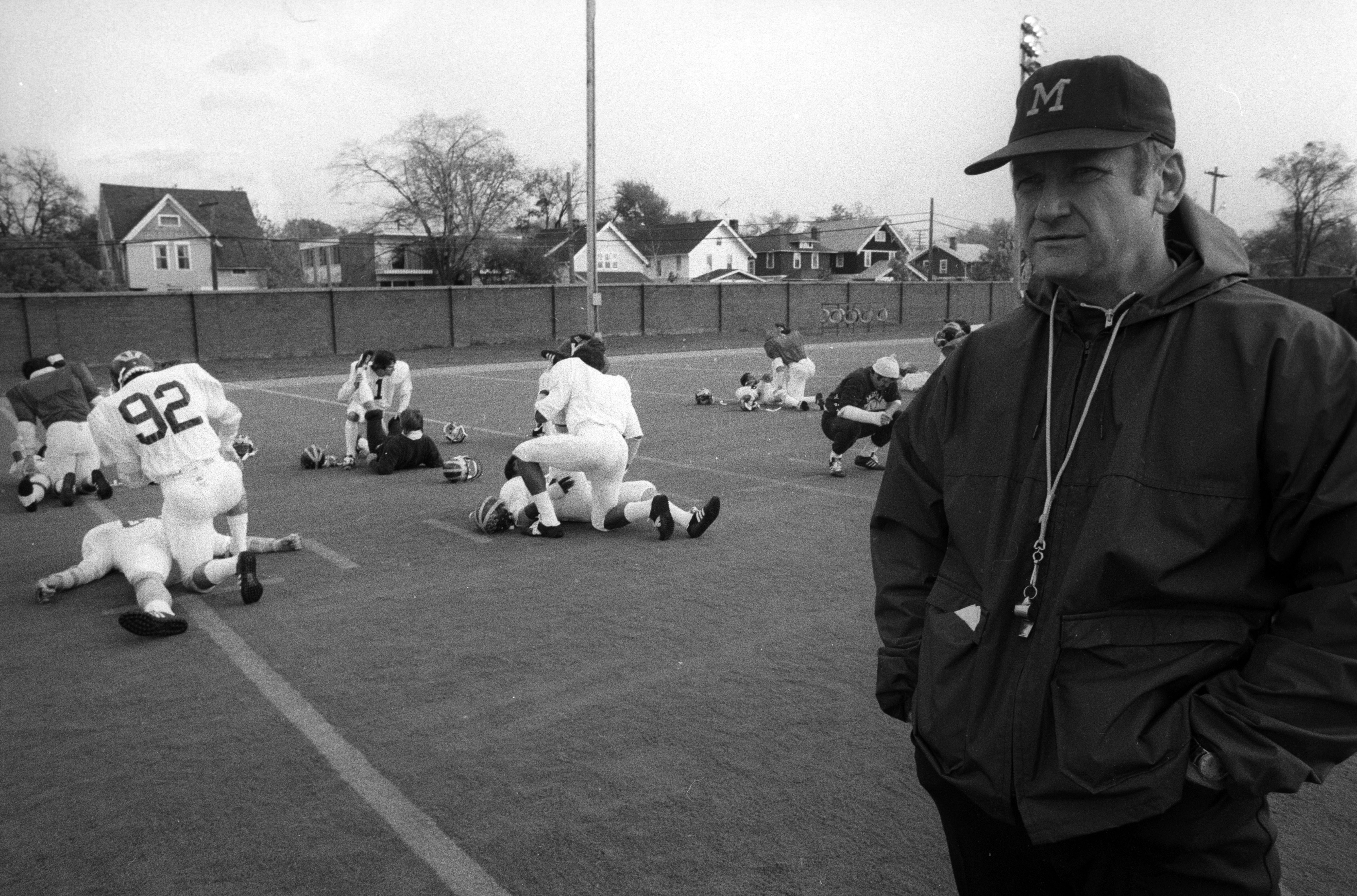 Michigan Coach Bo Schembechler At Football Practice, 1977 image