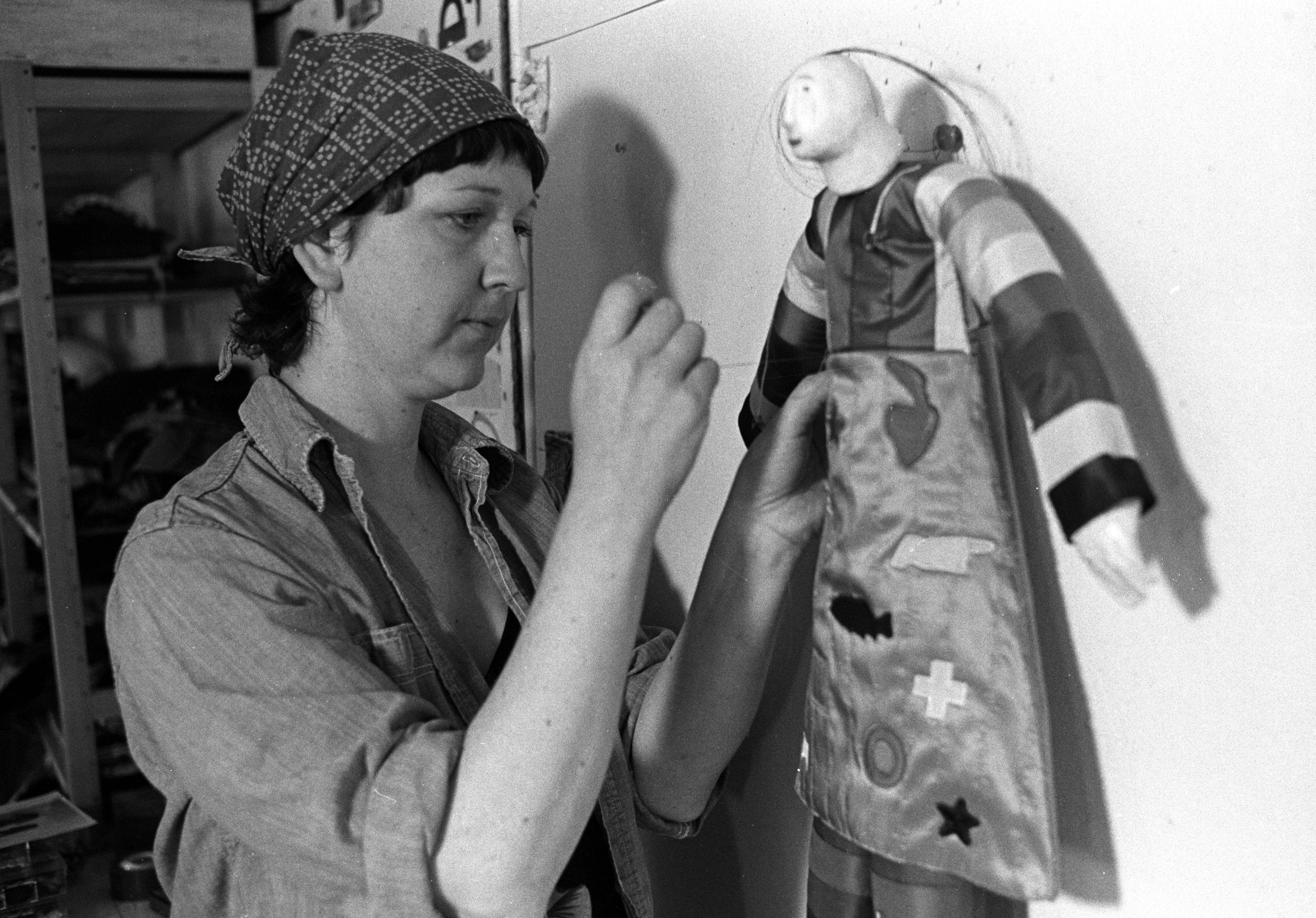 Charla Khanna with One of Her Dolls in Her Ann Arbor Studio, July 1980 image