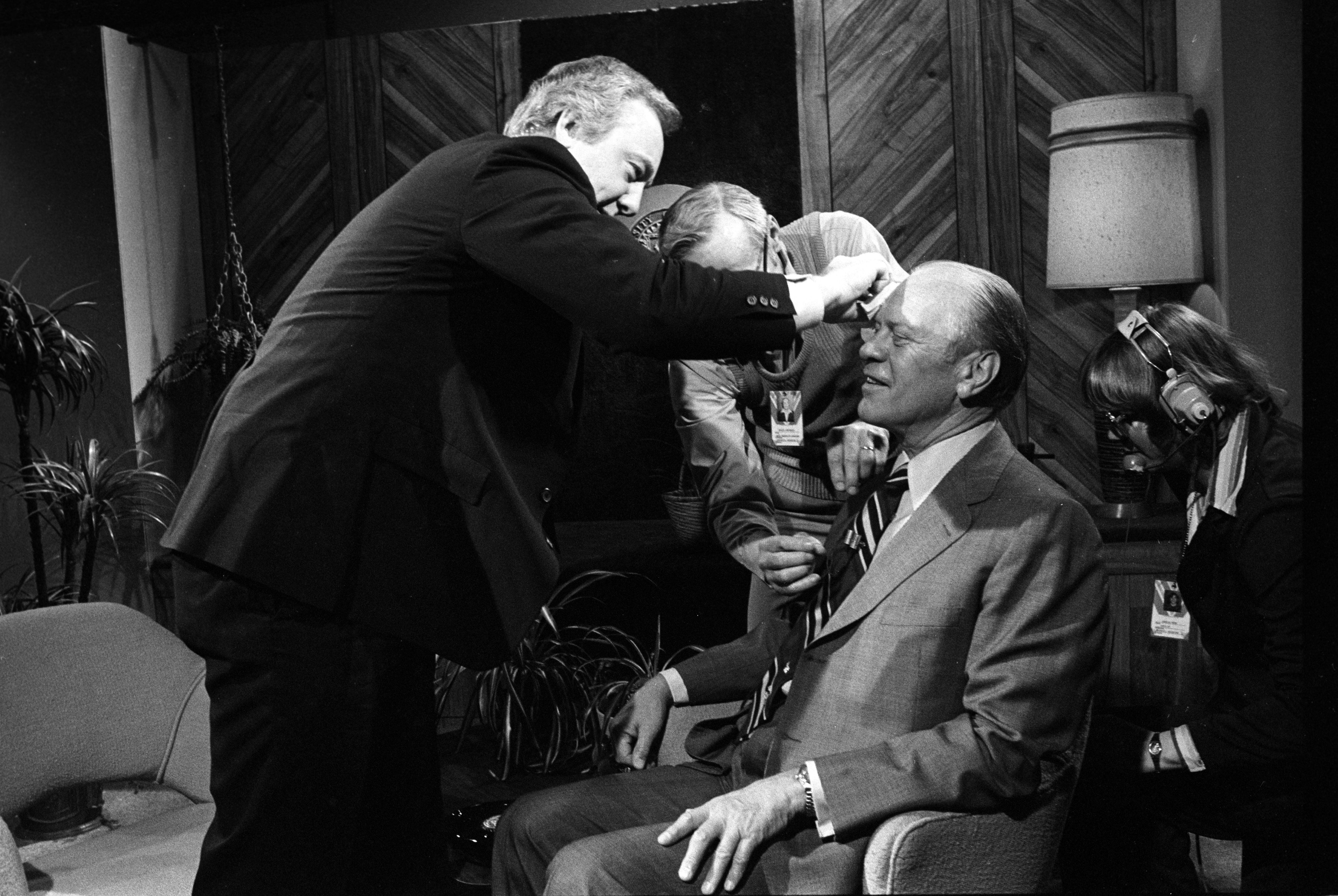 Former President Gerald Ford Getting Makeup Prior to Interview with ABC News Anchor Steve Bell, April 1981 image