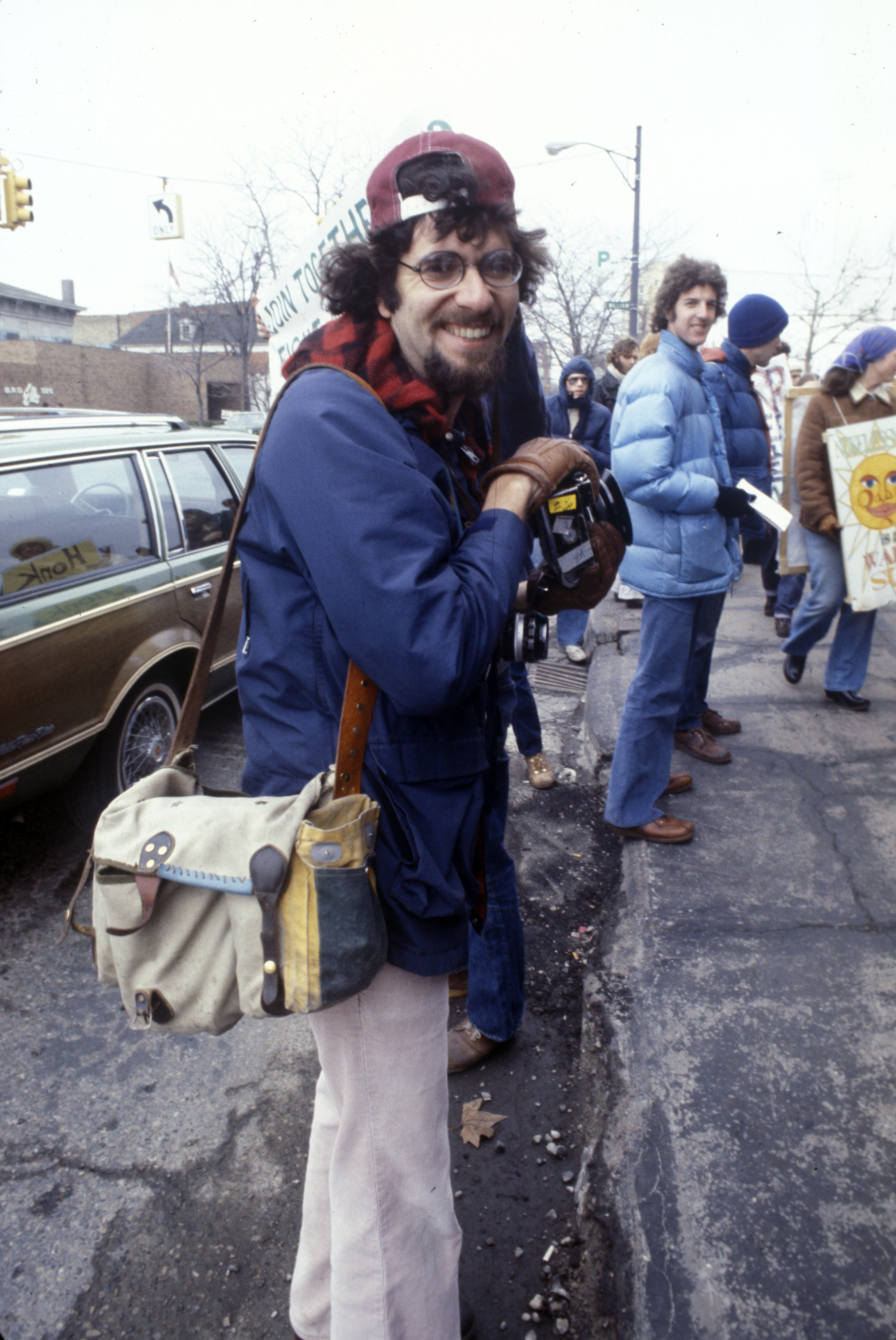 Andy Sacks at Anti-nuclear Protest Outside Detroit Edison Offices, c.1982 clone image
