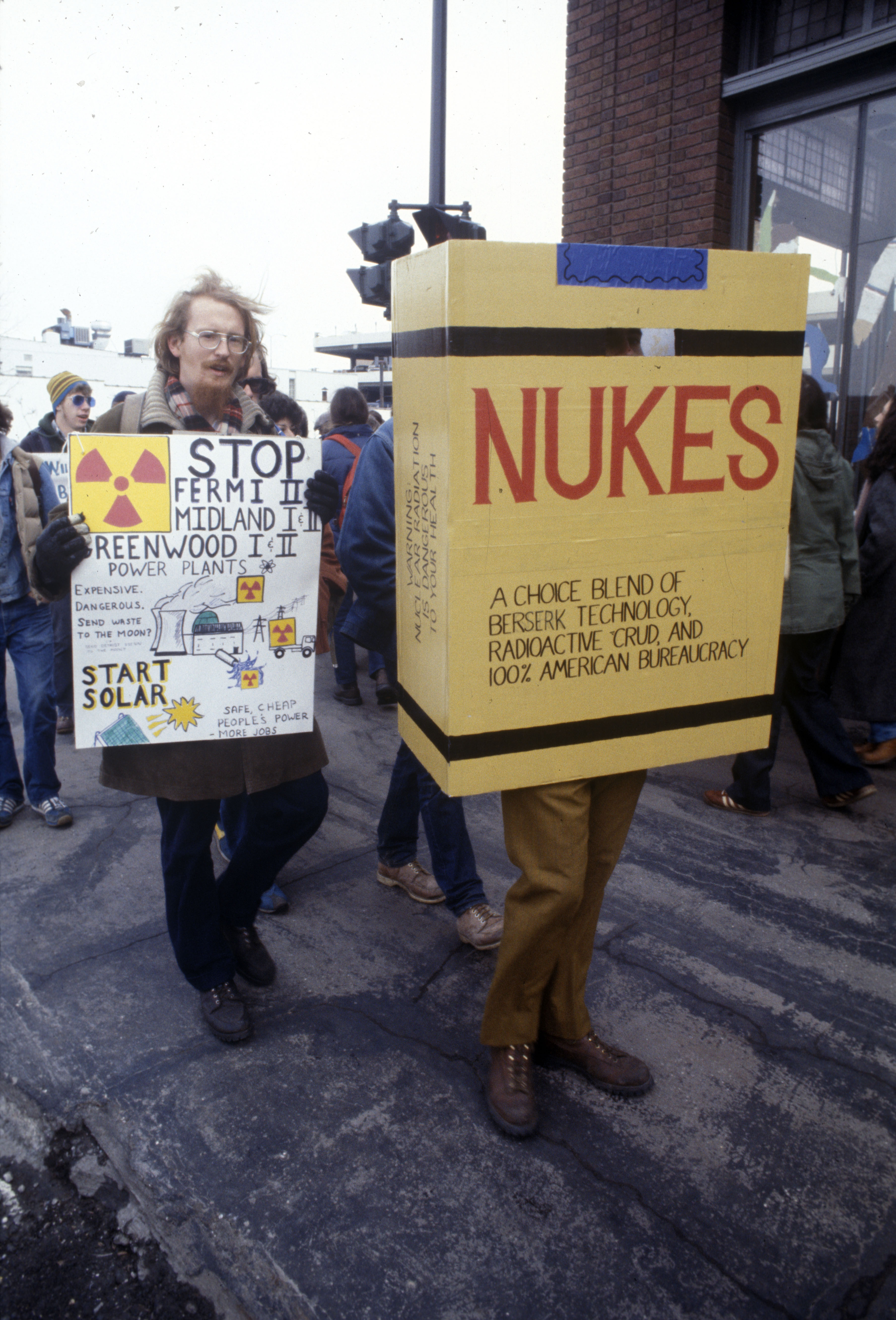 Anti-nuclear Protest Outside Detroit Edison Offices, c.1982 clone image