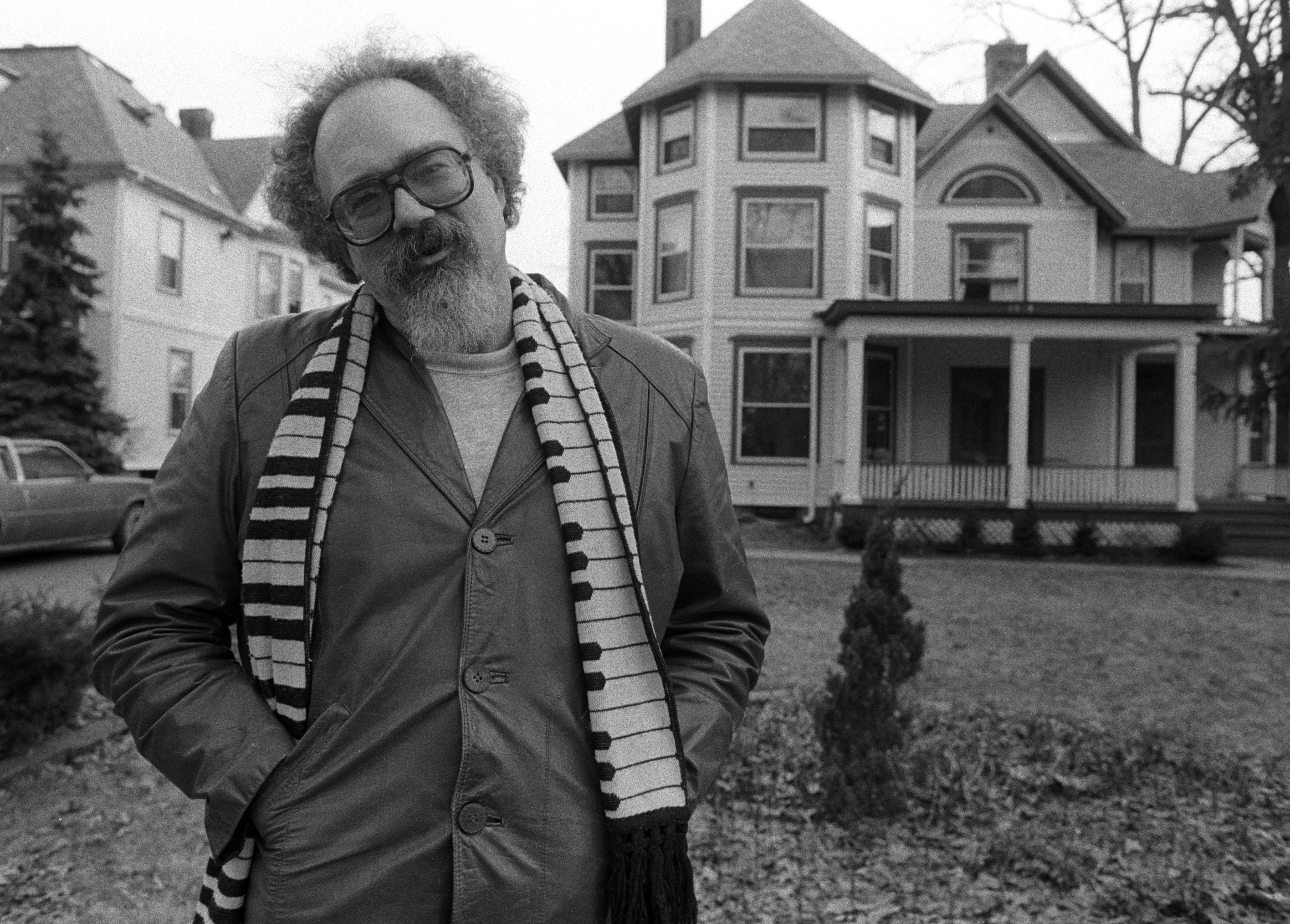 John Sinclair in Front of Former White Panther House on Hill Street, March 1991 image