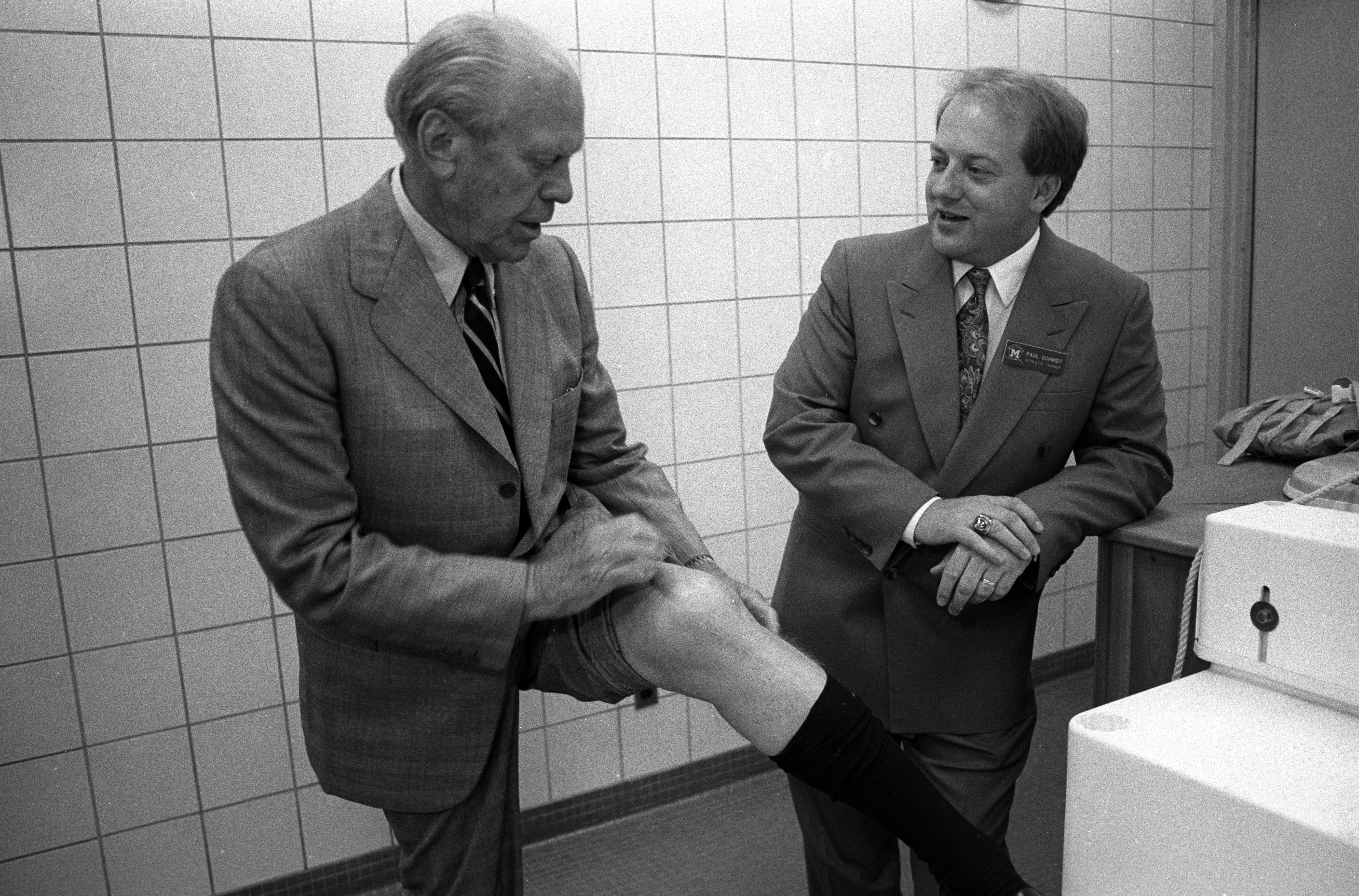 Gerald Ford Shows Off Scars From a Knee Injury Sustained While Playing Football of the University of Michigan, June 1991 image