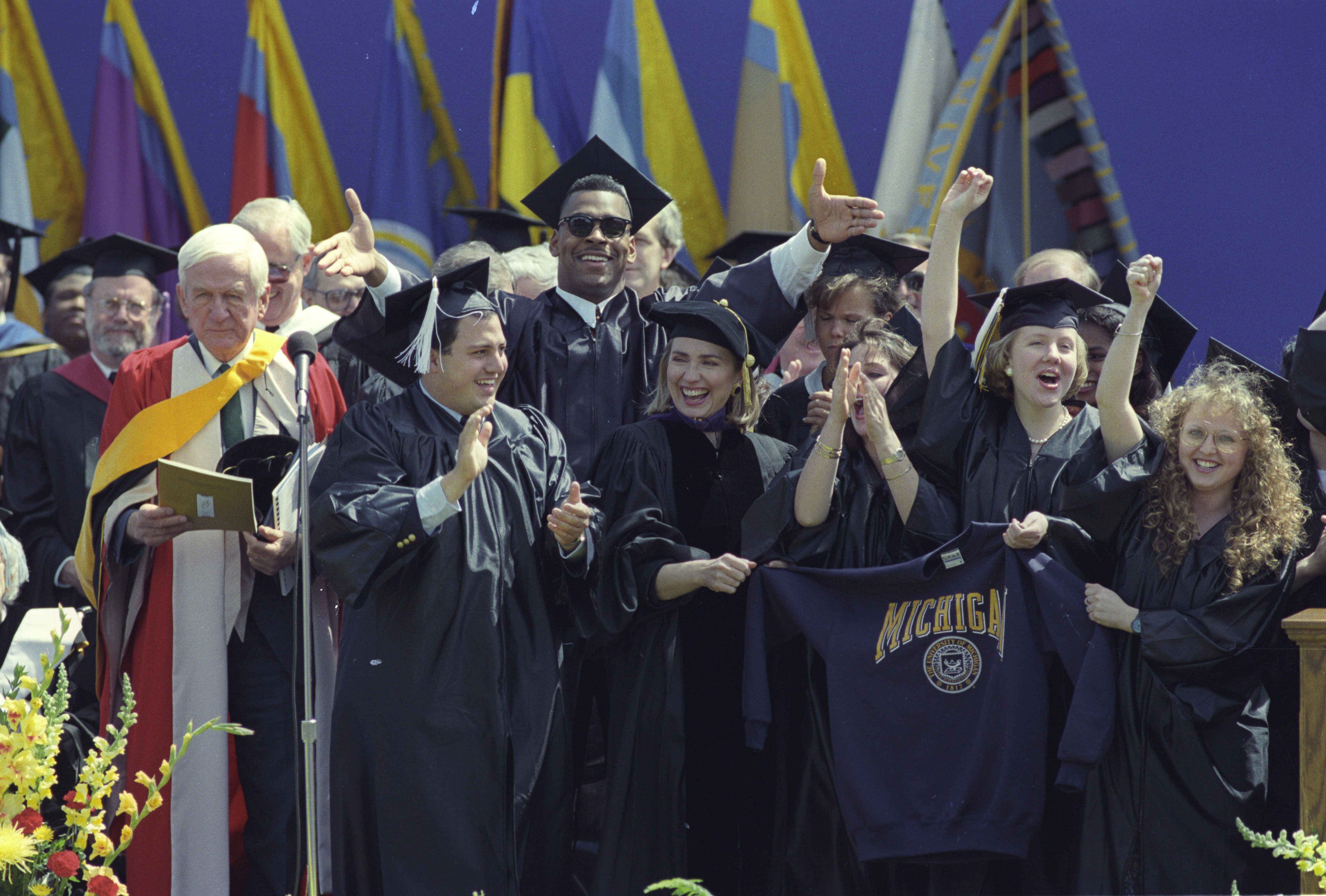 First Lady Hillary Clinton at the University of Michigan's Commencement, May 1, 1993 image