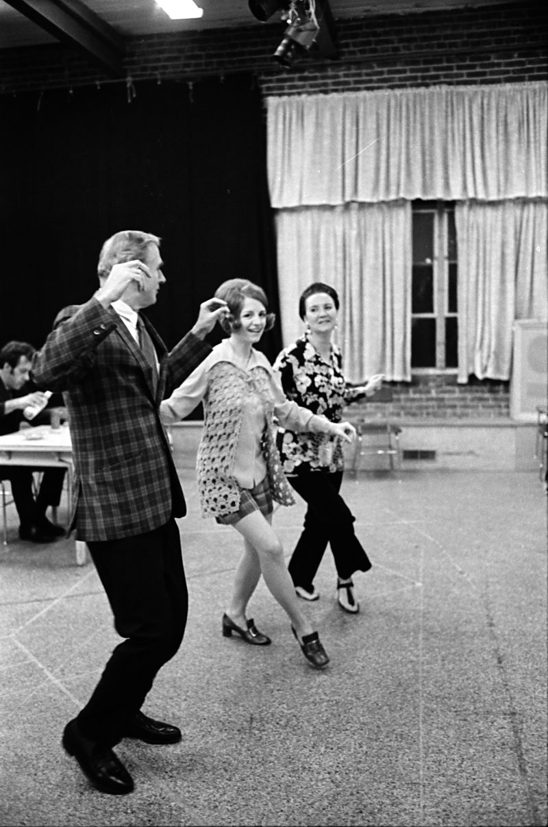 Bob Reinhart, Judy Levlitt, and Betty Ann Gould (left to right) rehearse a dance number for a nightclub scene in The Cactus Flower, 1973