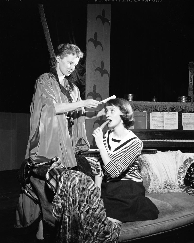 Winnifred Pierce and Diana Marcus rehearsing for their roles in the Ann Arbor Civic Theatre production of Gigi, 1957.