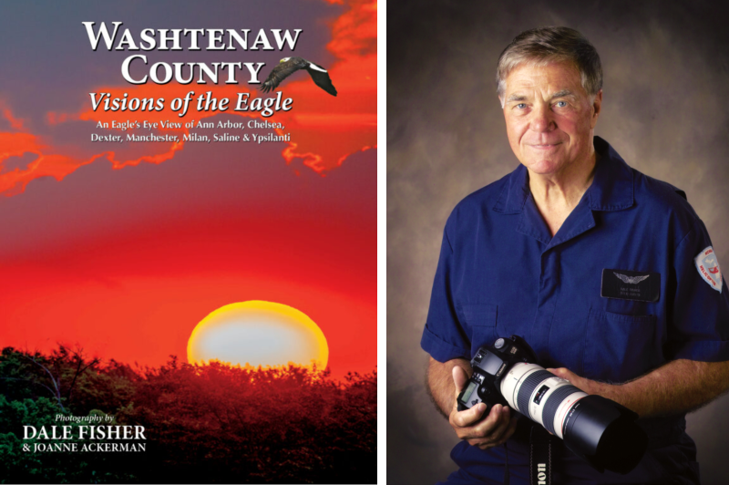 A photo of photographer Dale Fisher and his book Washtenaw County