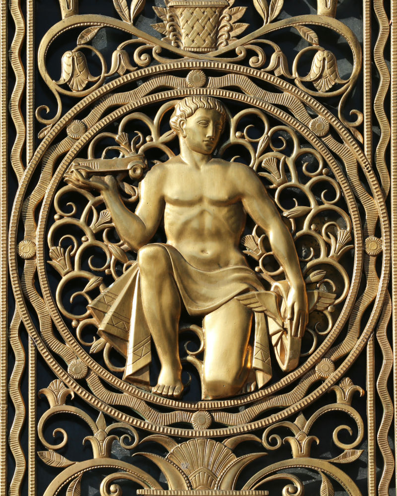 Detroit of a brass grille on the Fisher Building from the book Guardians of Detroit