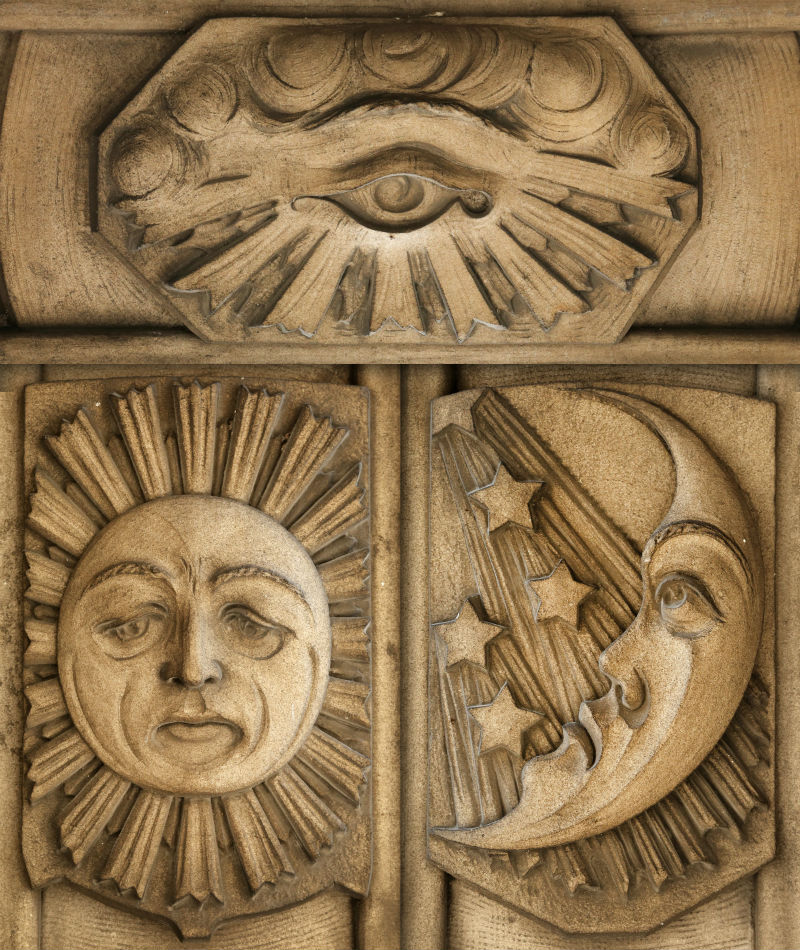 Three Masonic Temple reliefs from the book Guardians of Detroit